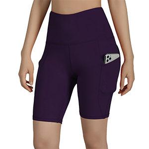 Purple ODODOS High Waist Out Pocket Yoga Shorts