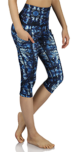 Blue ODODOS High Waist Out Pocket Yoga Shorts